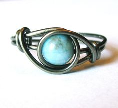 Turquoise Ring Wire Wrapped Boho Jewelry by DistortedEarth on Etsy, $12.00