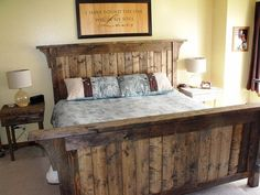 Authentic Solid Wood Handcrafted Rustic Bed Set on Etsy, $375.00