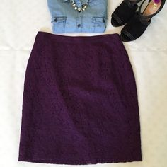 """J Crew Purple Lace Pencil Skirt beautiful lace NWOT pencil skirt with grosgrain ribbon waistband. features back zipper and hook/eye. waist is 15"""" flat and length is 20.25"""".  61% cotton 39% nylon with 100% acetate. size 6. price firm :) J. Crew Skirts Pencil"""