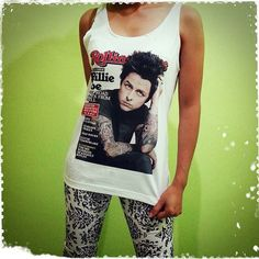 Billie Joe Armstrong Roll - Green day Rock Band US American Singer Woman Tank Top Crop Vest Tshirt T Shirt Tees S, M, L
