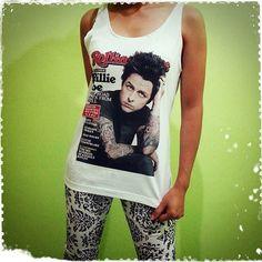 Billie Joe Armstrong Roll - Green day Rock Band US American Singer Woman Tank Top Crop Vest Tshirt T Shirt Tees S, M, L