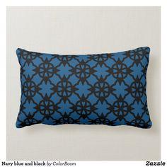Navy blue and black lumbar pillow Navy Blue Cushions, Navy Blue Throw Pillows, Personalized Pillows, Custom Pillows, Decorative Pillows, Blue Living Room Decor, Blue Home Decor, Living Room Cushions, Lumbar Pillow