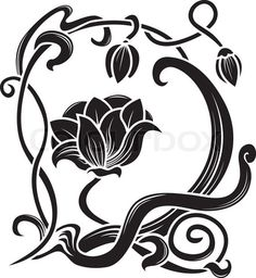 noveau lily tattoo | ... vector of 'Flower stencil. decorative element in art nouveau style