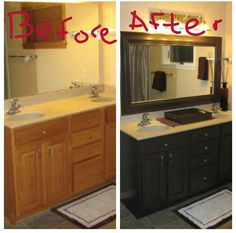 """My Master Bath Remodel!! <3 I painted the cabinets Benjamin Moore Aura """"Black Bean Soup"""" and framed out the mirror with trim for home depot & painted the same color!"""