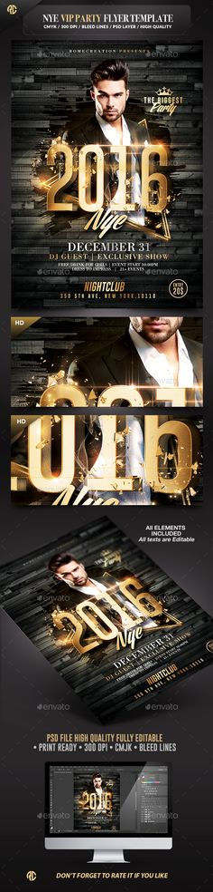 New Year Vip Party Gold Flyer Template PSD #design #nye Download: http://graphicriver.net/item/nye-vip-party-gold-flyer-template/13475411?ref=ksioks