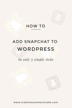 Are you a Snapchat lover? Do you want to have more followers on Snapchat? This tutorial shares exactly how to add your Snapchat to your WordPress blog in 5 super simple steps. Click here to read the entire post and follow us @creativesummer for more exclusive content and behind the scenes.