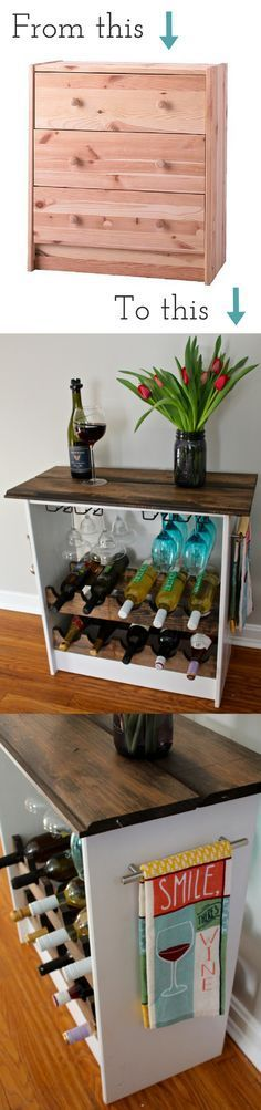 DIY Ikea Hack turning a Rast dresser into a wine rack. An easy idea and makeover to help spruce up my kitchen.