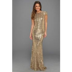 Bagdley Mischka gold evening gown