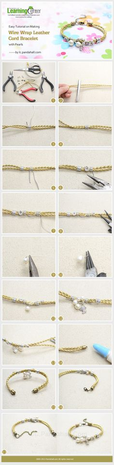 Easy Tutorial on Making Wire Wrap Leather Cord Bracelet with Pearls