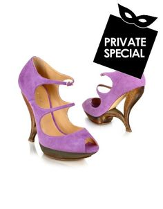 Purple Suede Peep Toe Strappy Shoes - Secret 50% OFF Special, not accessible from our public site. Use code: PLATINUMCODE. Limited time only. Casadeis bold purple peep-toe sandals in soft suede feature a unique curving faux wood heel and platform along with two thin straps for a fun feminine look that exudes a touch of vintage...