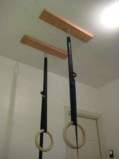 Constantly Varied: CrossFit Home Gym: How to Hang Gymnastic Rings - Tap the pin if you love super heroes too! Cause guess what? you will LOVE these super hero fitness shirts! Home Gym Garage, Diy Home Gym, Basement Gym, Basement Ideas, Diy Gym Equipment, No Equipment Workout, Fitness Equipment, Gymnastics Equipment For Home, Gym Workouts