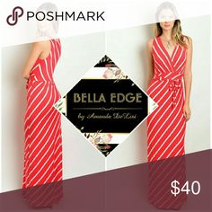 Red white pinstripe striped maxi dress 77% RAYON, 19% POLYESTER, 4% SPANDEX. Made in the USA. Make a fashion statement with this beautiful and flattering maxi dress. Featuring red and white pinstripe styling, a gathered waist and waistline fabric belt. Perfect for 4th of July! Sizes small to large. Bella Edge Boutique  Dresses Maxi