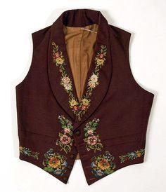 British wool and silk men's waistcoat, mid-1840's. | The MET