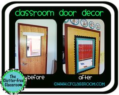 She used 2 colors of ribbon and a border to add a little personality to her door window--Clutter-Free Classroom: SIMPLE DOOR DECOR {Classroom 360}