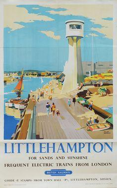 'Littlehampton - For Sands and Sunshine' - British Railways Travel Poster Posters Uk, Train Posters, Railway Posters, Retro Posters, Vintage Advertising Posters, Vintage Travel Posters, Vintage Advertisements, British Travel, British Seaside