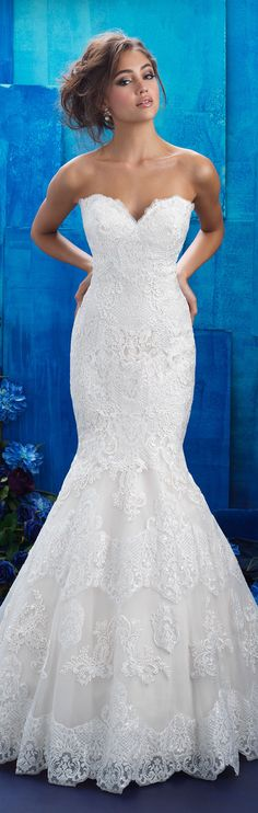 Strapless lace wedding gown by Allure Bridals 2017 | @allurebridals