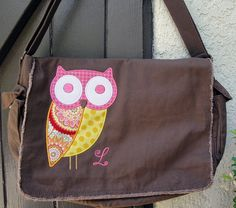 Large Raw Edge Messenger or Diaper Bag with Funky Owl Custom Colors Available