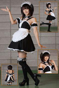 Classic Spaghetti Straps White And Black Cosplay Lolita Dress Funny Fancy Dress - Funny Fancy Dress, Funny Dresses, Cute Dresses, Harajuku Fashion, Kawaii Fashion, Cute Fashion, Maid Outfit, Maid Dress, Maid Cosplay
