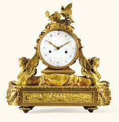 A GILT-BRONZE MANTEL CLOCK Attributed To GOUTHIÈRE PIERRE, AFTER A DESIGN BY FRANCIS JOSEPH BELANGER, THE DIAL SIGNED ROBIN IN PARIS