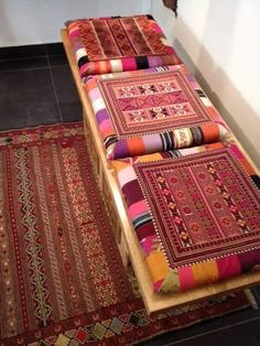 Barjis Design bench Palestinian embroidered cushions barjised over wooden bench Embroidery Art, Cross Stitch Embroidery, Embroidery Patterns, Cross Stitch Patterns, Home Wedding Decorations, Ramadan Decorations, Hamsa, Palestinian Embroidery, Embroidered Cushions