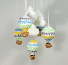 Hot Air Balloon Mobile Clouds Crochet Nursery by SimplyStitcheduk | Etsy | £25 + shipping