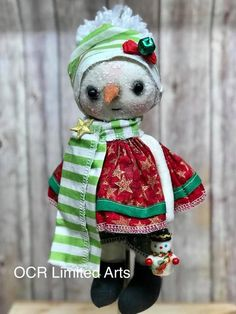 ASPEN Primitive Folk Art Snow girl Doll Snowman Snow People OOak Christmas Holiday Decoration Collectible winter by OCRLimitedArts on Etsy