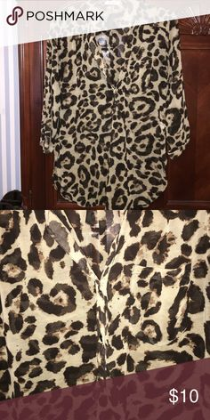 Three quarter length blouse Cheetah print. Tops Blouses