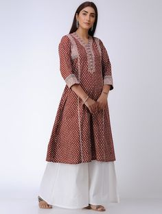 Buy Red Bagh Printed Paneled Cotton Kurta dummy Online at Jaypore.com Kurta With Pants, Indian Designer Wear, Kurti, Fashion Outfits, Clothes For Women, Printed, Cotton, Stuff To Buy, How To Wear