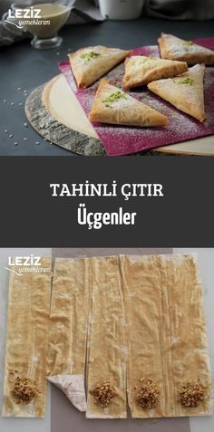 Tahinli Çıtır Üçgenler - Leziz Yemeklerim - galletas - Las recetas más prácticas y fáciles Köstliche Desserts, Healthy Dessert Recipes, Health Desserts, Delicious Desserts, Yummy Food, Tahini, Healthy Cupcakes, Dessert Aux Fruits, Turkish Recipes