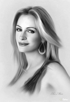 "( CELEBRITY WOMAN 2016 ★ JULIA ROBERTS "" Pencil drawings "" ) ★ Julia Fiona Roberts - Saturday, October 28, 1967 - 5' 8"" - Smyrna, Georgia, USA."