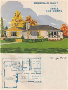 Suburban Home  1945 Style Trends by National Plan Service - Love the colored bricks