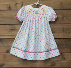 Smocked Birthday Cake Polka Dot Rainbow Party Cupcake Confetti Frosting Balloon Dress Baby Toddler Girls Spring Summer