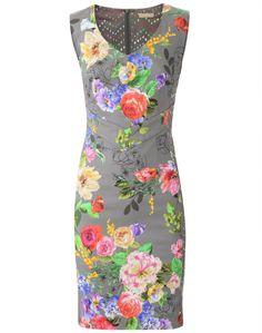 Grey Multi Flower Dress