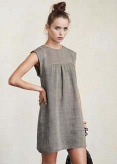 Серое льняное короткое платье Abiti Da Lavoro Estivo 0755f8e34a5