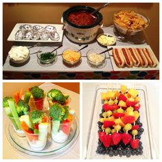 Chili Bar - Veggie Cups - Fruit Skewers  Party Food - add cornbread to this too...
