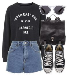 """Untitled #4499"" by laurenmboot ❤ liked on Polyvore featuring Topshop, Proenza Schouler, Converse and Illesteva"