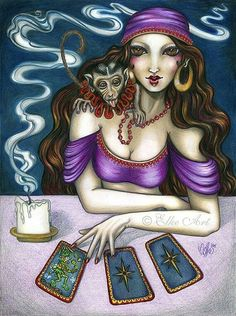 """Items similar to Art PRINT """"The Truth Teller"""" X Fortune Teller Gypsy Circus Monkey tarot card reading pschic on Etsy Atc Cards, Tarot Cards, Gypsy Life, Gypsy Soul, Gypsy Fortune Teller, Tarot Card Spreads, Witch Art, Fortune Telling, Oracle Cards"""