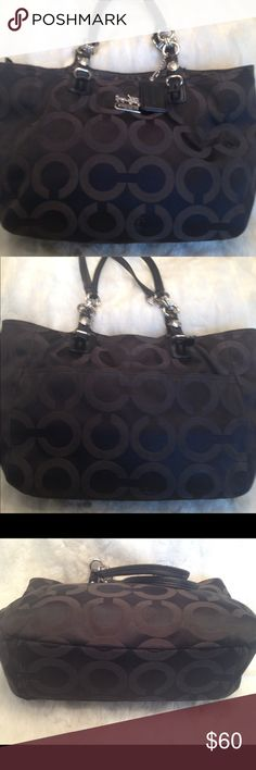 LARGE COACH Mia Op Art Sateen Tote COACH#J1182-F15758. In good shape. Good straps. Liner needs some cleaning but stain free. No scuffs and snags. LOTS OF SPACE. Measures 10x15 Coach Bags Totes