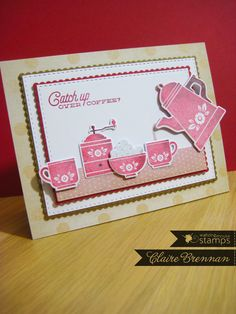 Waltzingmouse Makes. using Coffee set and scalloped and stitched rectangle dies. Coffee Cards, Coffee Set, Clear Stamps, Cardmaking, Cocoa, Tea Pots, Greeting Cards, Paper Crafts, My Favorite Things