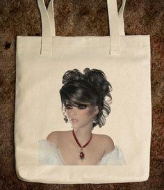 Brunette woman tote bag