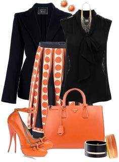 """Orange and Black"" by averbeek on Polyvore"
