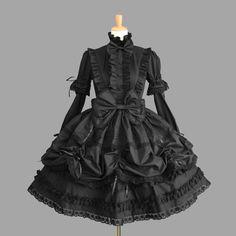 Black Cotton Long Sleeves Wonderful Gothic Lolita Dress