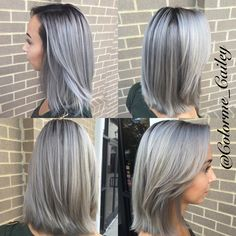 Grey hair, silver fox, silver hair, deep root, balayage, blonde to silver