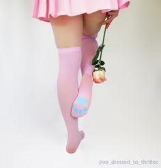 KITTEN PLAY LINGERIE - thigh-high pink kitten play gear, ddlg, kitty, cosplay, anime, pet play lingerie, neko, pastel goth, alternative