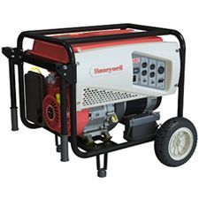 The Honeywell product is made by Generac. It has the Generac OHV Engine just like most of the other Generac portables. This model also comes with electric start for ease of starting.     This is a great emergency back up unit because you can get about 8 hours of run time on one tank of gas if you run it at half load. That means fewer trips out to the generator to refill it.    With it's sturdy wheel kit it makes moving this generator out of the garage much easier.