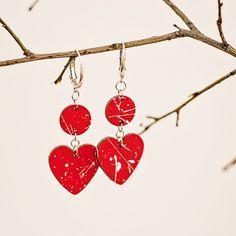 Heart earrings red wooden handpainted jewelry Wooden earrings laser cut jewelry Lightweight earrings