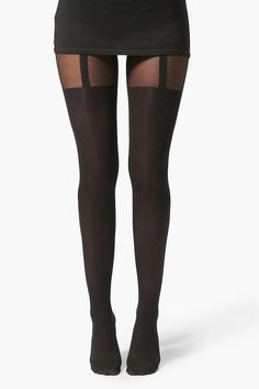Hannah Mock Suspender Tights - Add attitude with accessories for those fashion-forward finishing touchesIt's all about accessories for injecting individuality into your look. Shop at www.fashion-tights.net #tights #pantyhose #hosiery #nylons #legs