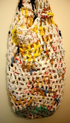 Items similar to Recylced Crochet Plastic Laundry Bag on Etsy T Shirt Yarn, Wash Bags, Repurpose, Recycling, Laundry, Swim, Plastic, Crafty, Trending Outfits