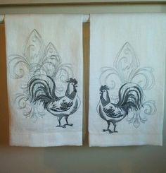 Roosters & Fleur de Lis  Linen Kitchen towels
