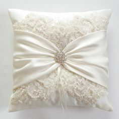 Wedding Ring Pillow with Beaded Alencon Lace Ivory by JLWeddings, $56.50